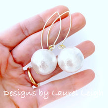 Load image into Gallery viewer, Jumbo Cotton Pearl Statement Earrings - Ginger jar
