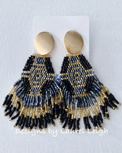 Load image into Gallery viewer, Dressy Multicolor Seed Bead Fringe Post Earrings - Black/Gray/Gold - Ginger jar