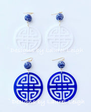 Load image into Gallery viewer, Chinoiserie Chic Longevity Symbol Statement Earrings - Acrylic - White/Royal - Ginger jar