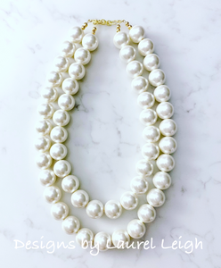 Chunky Double Strand Faux Pearl Necklace - Ginger jar
