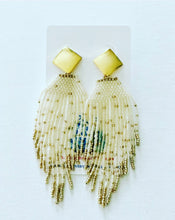 Load image into Gallery viewer, Dressy Seed Bead Tassel Statement Earrings - Gold & Black/Gray/Turquoise/White/Fuchsia - Designs by Laurel Leigh