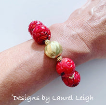 Load image into Gallery viewer, Chunky Red & Gold Bamboo Coral Statement Bracelets