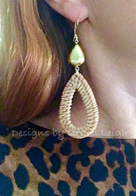 Load image into Gallery viewer, Gold Rattan Teardrop Hoops - Ginger jar