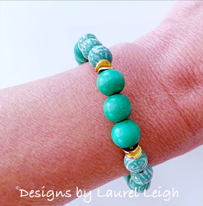 Chinoiserie Longevity Bead Bracelet - Kelly Green