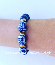 Load image into Gallery viewer, Blue and White Chinoiserie Vintage Bead Statement Bracelet - Navy - Ginger jar