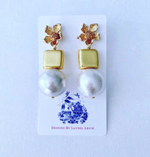 Load image into Gallery viewer, Gold and Jumbo Cotton Pearl Statement Earrings - Ginger jar
