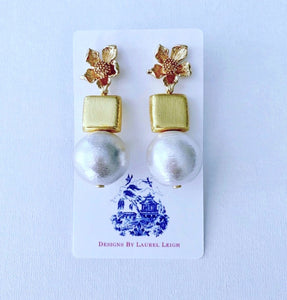 Gold and Jumbo Cotton Pearl Statement Earrings - Ginger jar