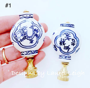 Blue and White Chinoiserie Lamp Finials - Sold Individually - Ginger jar