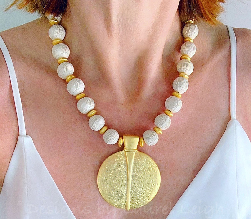Gold and Ivory Chinoiserie Pendant Statement Necklace - Ginger jar