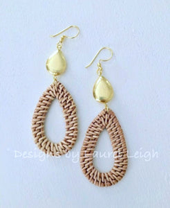 Gold Rattan Teardrop Hoops - Ginger jar
