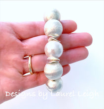 Load image into Gallery viewer, Chunky Silver & Pearl Statement Bracelet - Ginger jar