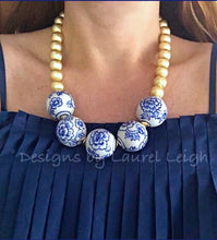 Load image into Gallery viewer, Blue and White Chunky Floral Statement Necklace - Gold - Designs by Laurel Leigh