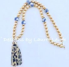 Load image into Gallery viewer, Chinoiserie Leopard Print Tassel Statement Necklace - Gold - Ginger jar