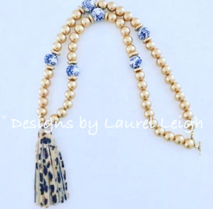 Chinoiserie Leopard Print Tassel Statement Necklace - Gold - Ginger jar