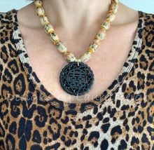 Load image into Gallery viewer, Chinoiserie Vintage Bead Statement Necklace w/ Double Happiness Pendant - Ginger jar
