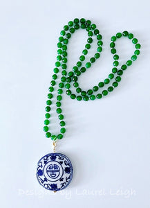 Green Jade Chinoiserie Pendant Statement Necklace - Ginger jar