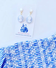 Load image into Gallery viewer, Blue & White Mother of Pearl Cameo Earrings - Light Blue - Ginger jar