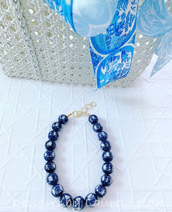 Blue and White Chunky Chinoiserie Double Happiness Statement Necklace - Adjustable Length - Ginger jar
