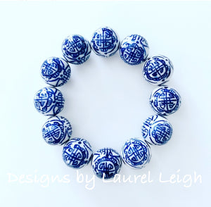 Chunky Blue and White Chinoiserie Chinese Symbol Beaded Statement Bracelet - Ginger jar