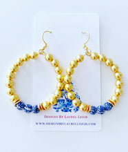 Load image into Gallery viewer, Chinoiserie Beaded Hoops - Gold - Ginger jar