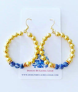 Chinoiserie Beaded Hoops - Gold - Ginger jar