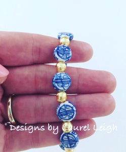 Blue and White Chinoiserie Coin Beaded Bracelet - Designs by Laurel Leigh