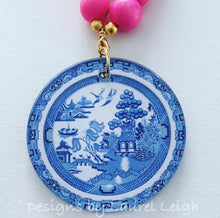 Load image into Gallery viewer, Blue Willow Chinoiserie Double Happiness Pendant Statement Necklace -Bubblegum Pink - Ginger jar
