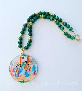 Green Rose Medallion Chinoiserie 2-Sided Pendant Necklace - 2 Styles - Ginger jar