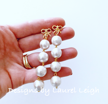 Load image into Gallery viewer, Gold Bow & Pearl Drop Earrings - Ginger jar
