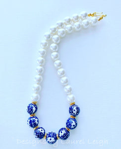 Blue and White Chinoiserie Pearl Chunky Statement Necklace - Ginger jar