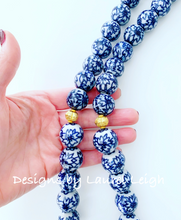 Load image into Gallery viewer, Long Chunky Chinoiserie Floral Beaded Statement Necklace - Ginger jar
