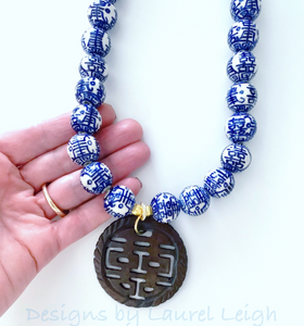Chinoiserie Double Happiness Pendant Statement Necklace