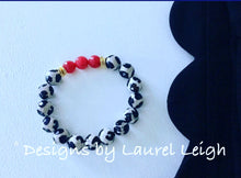 Load image into Gallery viewer, Black, White and Red Tibetan Agate Gemstone Statement Bracelet - Ginger jar