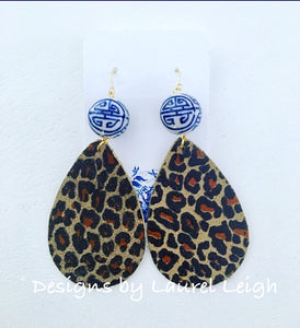 Chinoiserie Leather Dark Leopard Print Statement Earrings - Ginger jar
