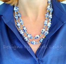 Load image into Gallery viewer, Chunky Blue & White Double Strand Statement Necklace - Ginger Jar Beads - Ginger jar