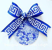 Load image into Gallery viewer, Blue and White Chinoiserie Chrysanthemum Floral Ornament - 4""