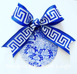 Blue and White Chinoiserie Chrysanthemum Floral Ornament - 4""