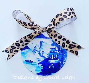 Blue and White Chinoiserie Christmas Ornament- Canton Watercolor Art Pattern