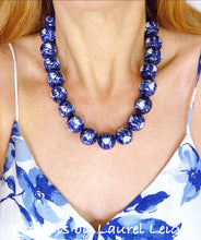 Load image into Gallery viewer, Blue and White Chunky Chinoiserie Double Happiness Statement Necklace - Adjustable Length - Ginger jar