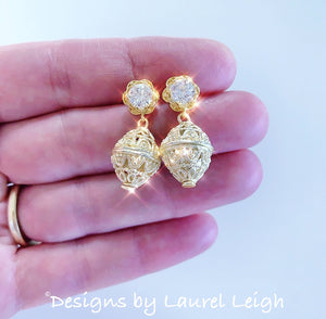 Dainty Gold Filigree & Rhinestone Earrings