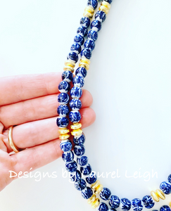Dainty Double Strand Chinoiserie Bead Necklace - Ginger jar