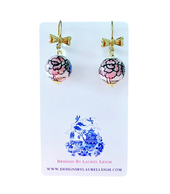 Chinoiserie Pink Peony and Bow Earrings