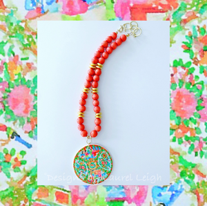 Rose Medallion Chinoiserie Pendant Necklace - Orange - Ginger jar
