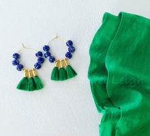 Load image into Gallery viewer, Chinoiserie Beaded Tassel Hoop Earrings - Green - Ginger jar
