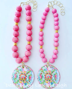 Rose Medallion Chinoiserie Pendant Necklace - Pink - 2 Options - Ginger jar