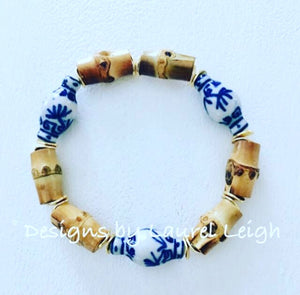 Blue and White Chinoiserie Bamboo Ginger Jar Statement Bracelet - Ginger jar