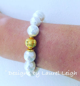 South Sea Mother of Pearl and Gold Bead Statement Bracelet - Ginger jar