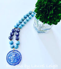 Load image into Gallery viewer, Blue Willow Chinoiserie Double Happiness Pendant Statement Necklace - Light Blue - Ginger jar