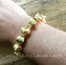 Load image into Gallery viewer, Gold Square Beaded Statement Bracelet - Ginger jar
