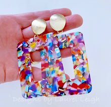 Load image into Gallery viewer, Large Tortoise Shell Statement Earrings - Rainbow Multicolor/Gold - Ginger jar